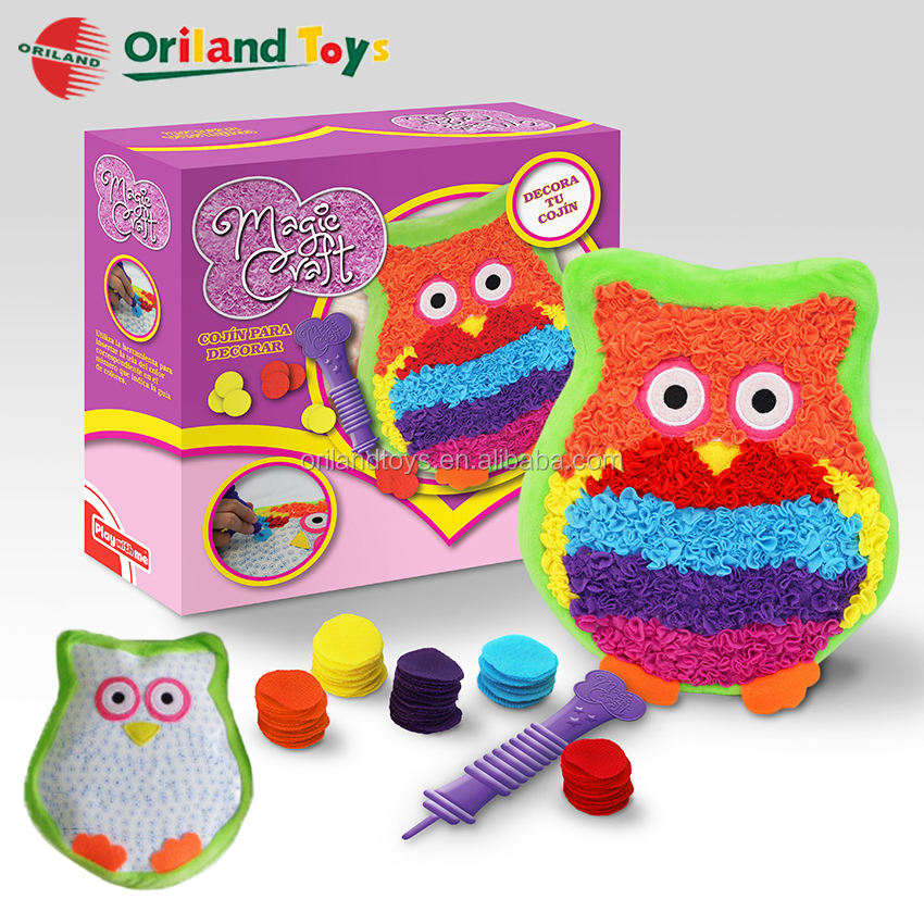 colorful decoration diy crafts plush toys magic owl pillow from ICTI Factory