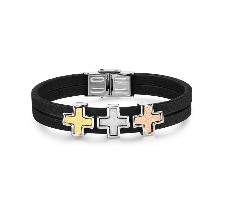 hot sale stainless steel 316L genuine leather string bracelet cross