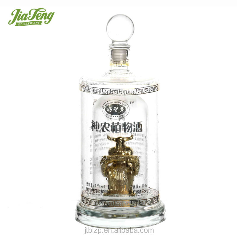China supplier handblown animal shape glass bottle for liquor