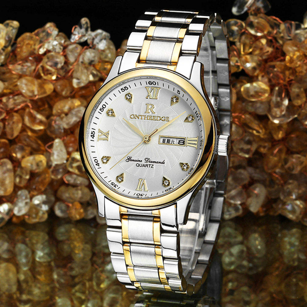 ONTHEEDGE 003 R Style Quartz Stainless Steel Watches Men Gold Color