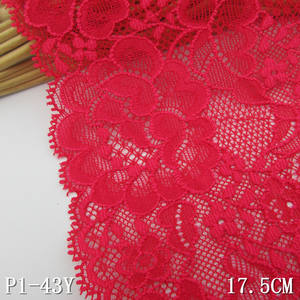 Stretch lace dark-red 17.5 cm elastis kain renda