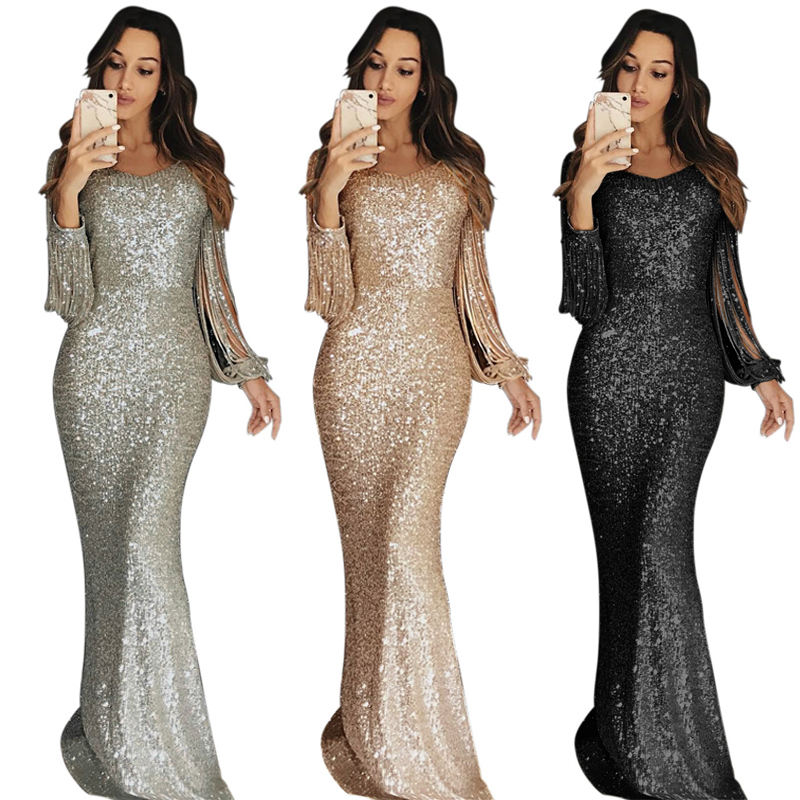 2021 frauen Damen Vestidos Largo Langarm Party Maxi Pailletten Abendkleid