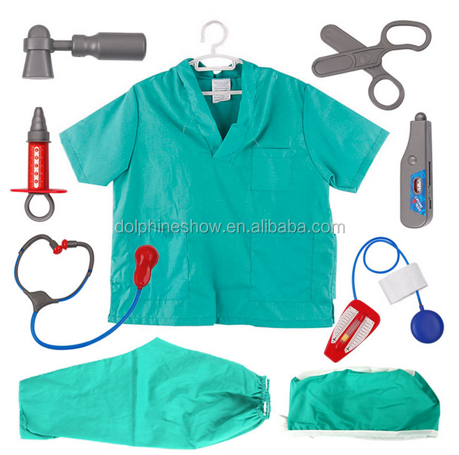 Ready goods low MOQ promotional gift kid doctor costume with plastic accessories