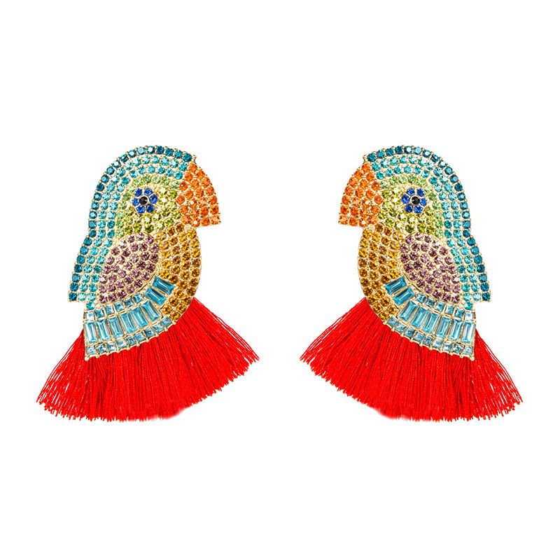 Unique Design Boho Colorful Parrot Bird Tassel Drop Dangle Statement Crystal Stone Earring For Bridal Wedding Jewelry