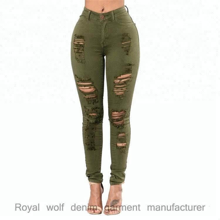 D & S fabrik dropshipping groß großhandel jeans dropshipping olive farbe jeans frauen ripped skinny jeans großhandel