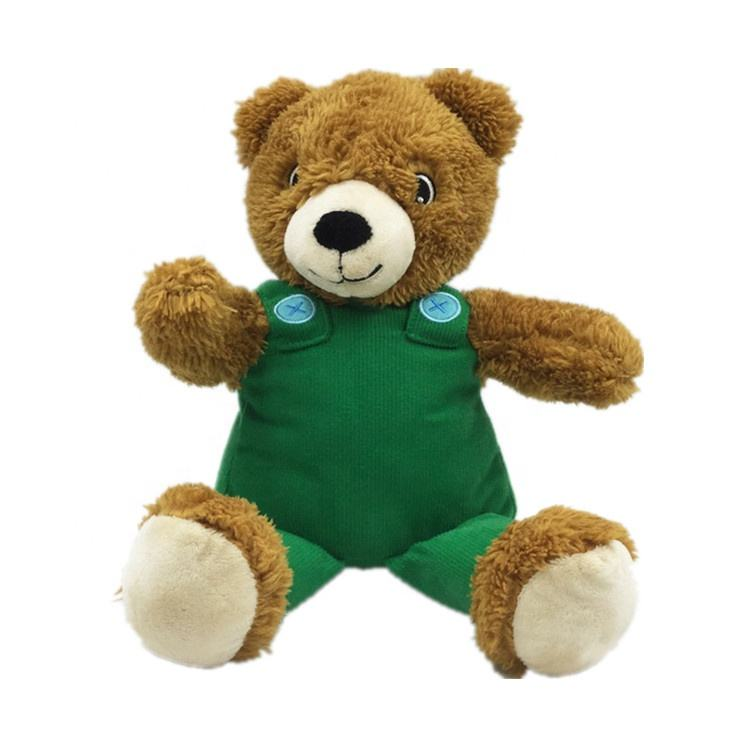 Custom Plush Brown Bear with green cloth overall Teddy Bear stuffed kids toys