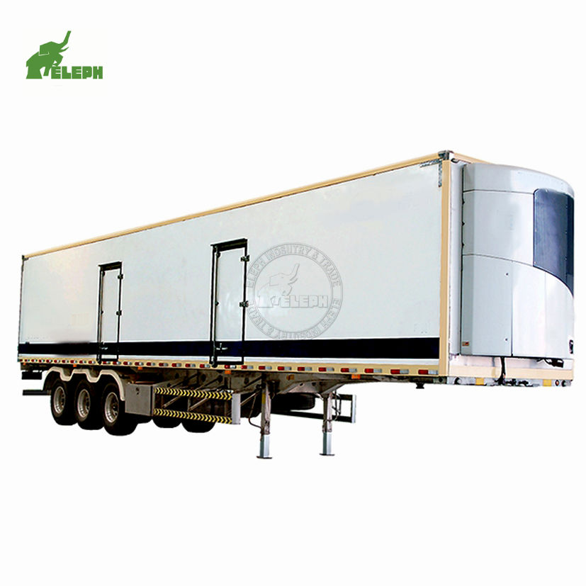 3 axles cool food transporting 40ft container box unit refrigerated van semi truck trailer for sale