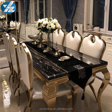 Black Square Marble Dining Table With 6 Chairs Set