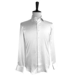 Custom Made Witte Pure Zijde Lange Mouwen Mens Dress Shirt Casual Lange Mouwen Mannen Slim Fit Shirts