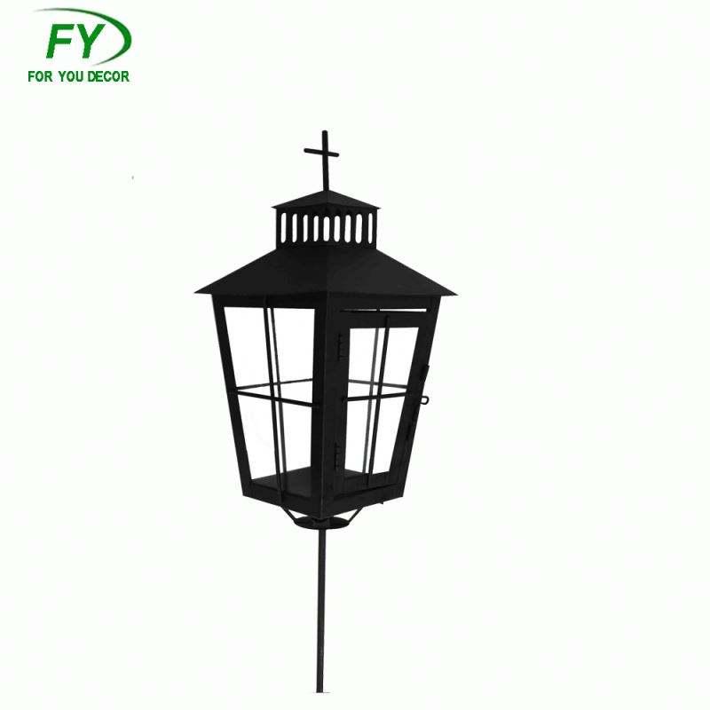 Insert stem grave outdoor metal candle lantern