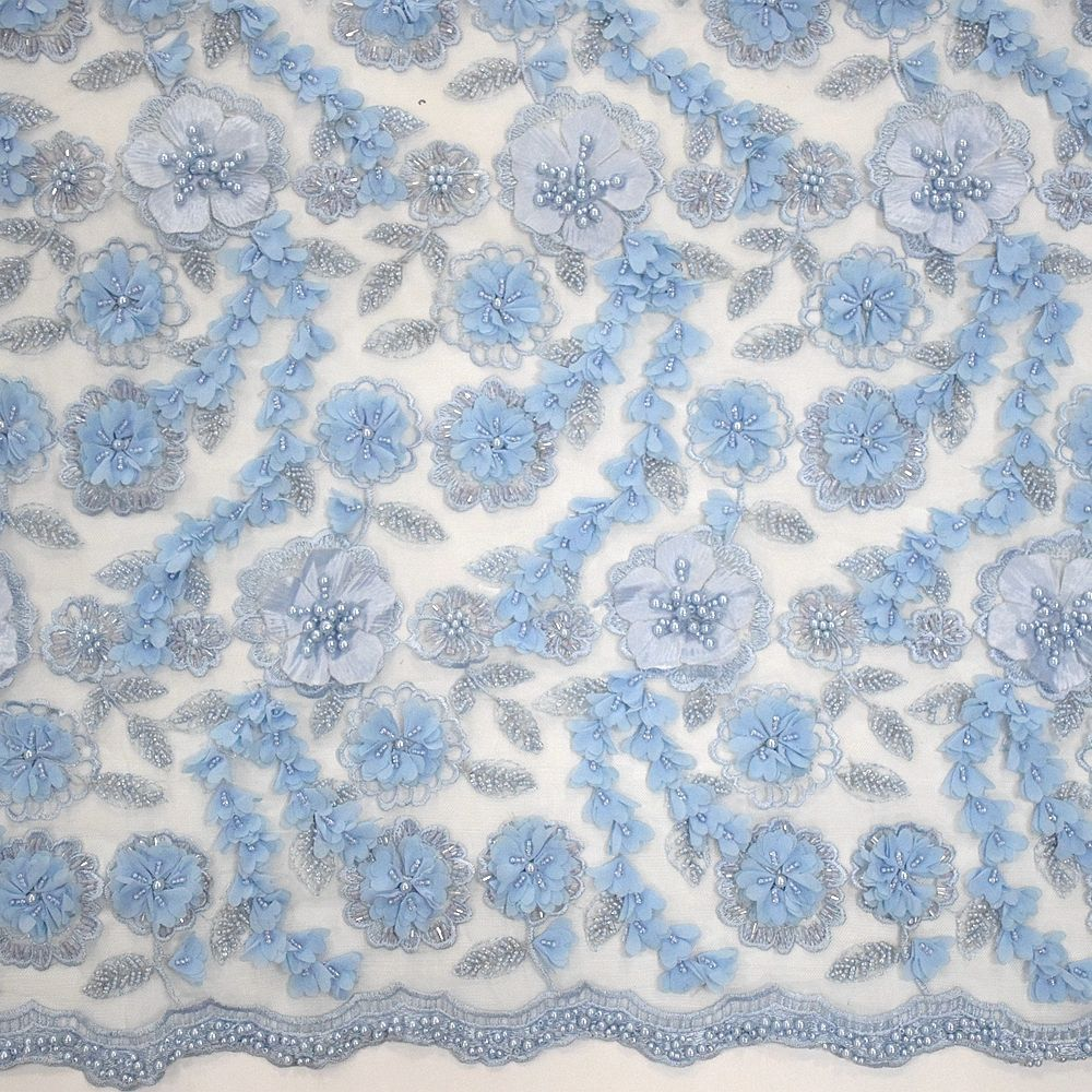 Top end french sky blue hand bead embroidery 3d flower lace with pearls tulle lace dress fabric HY0787-3