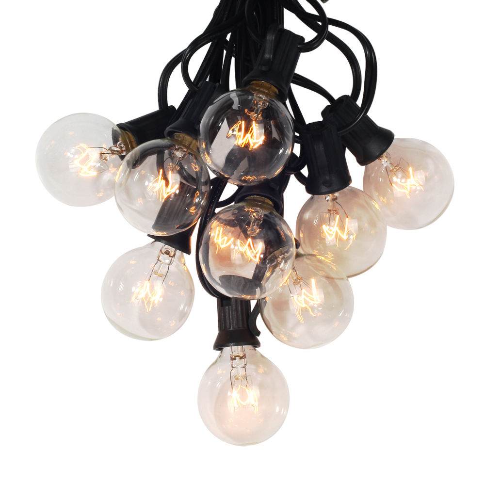 7.5M Outdoor Hanging Umbrella Christmas String Lights With 15 G40 Clear Globe Bulbs Indoor Holiday Wedding LED String Light