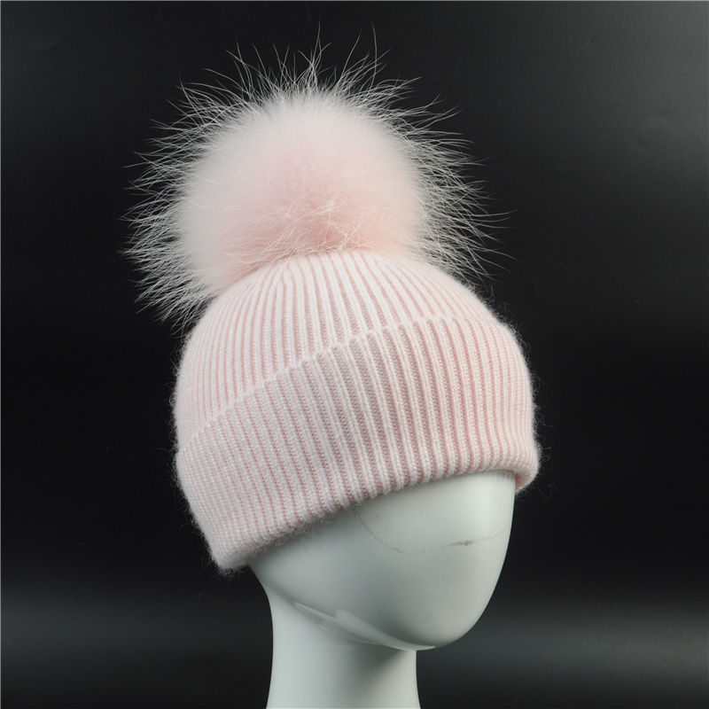 Lovely Autumn Winter Sping Warm Wool Hat Kids with Fluffy Pompon Real Raccoon Fur Funny Cute Pink Crocheted Baby Beanie