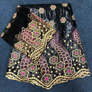 French lace fabric African jacquard embroidered bazin riche getzner for Nigerian wedding dresses