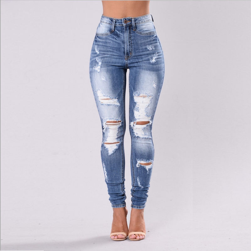 Cross-border fashion European and American foreign trade pierced jeans feet
