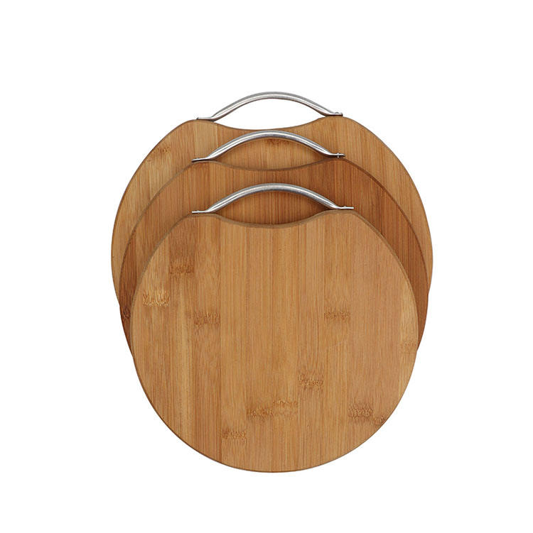 Wholesale Round Bamboo Cutting Board Extra Large and Thick Chopping Board set with metal handle