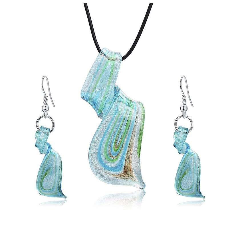 Silver Round Handmade Lampwork Murano Glass Bead Pendant Ribbon Necklace Cord