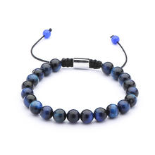 High Quality Wholesale Nature 8mm Blue Tiger Eye Beads Adjustable Men Stone Bracelet