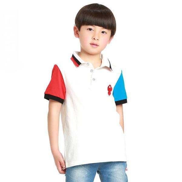 Children Different Color Sleeve Polo Shirt For 2018 Summer