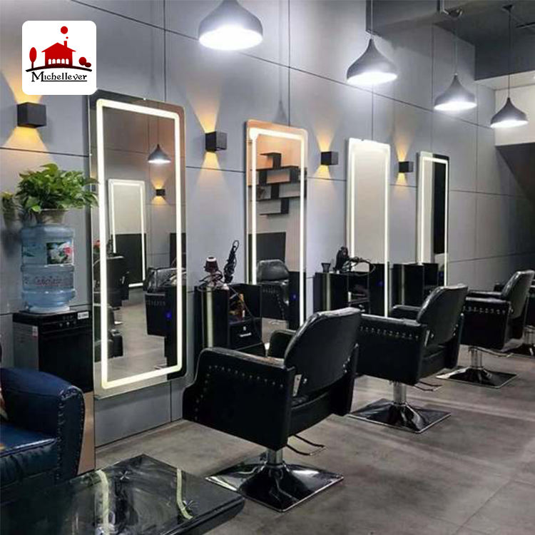 beauty hair salon furniture equipment mirror station styling mirror haridresser salon led station mirrors with led light