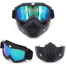 Vintage Retro Motorcycle Mask Half Helmet Modular Detachable Ski Snowboard Motorcycle CS Goggles Outdoor Protective Eye wear