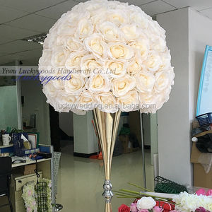 handmade personalized 60cm champagne color flower ball centerpiece for wedding table decoration