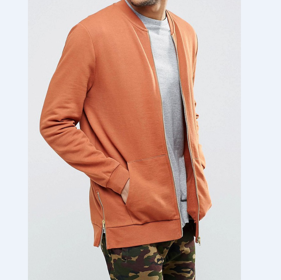 2019 fashion men casual jersey bomber jacket with side zips