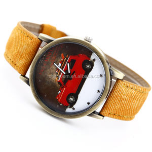 8 Color Hot Sale Vintage Jean Strap Quartz Watches Women Fashion Red Car Pattern High Quality Wrist Watch