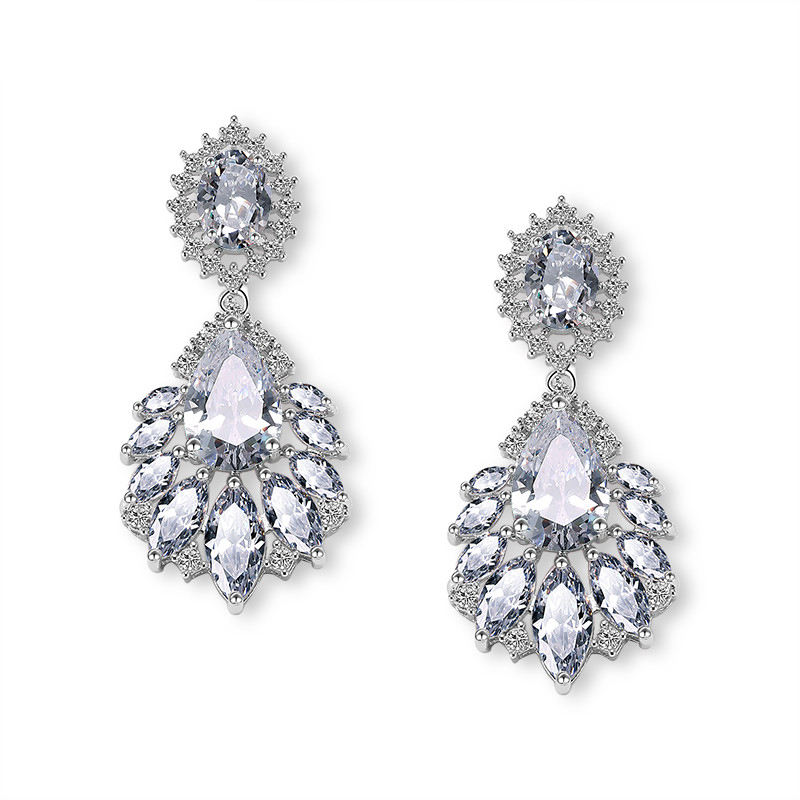 Rakol E363 Cubic Zirconia CZ Pha Lê Stones Dangle Earrings Bông Tai Wedding Bridal E363