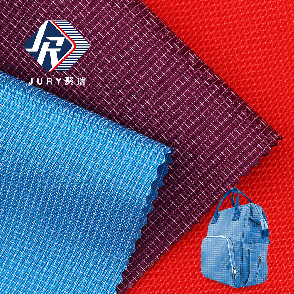 2019 high quality waterproof plain dyed Stretch silk double color grid 900D PVCcoated 100% polyester woven oxford fabric