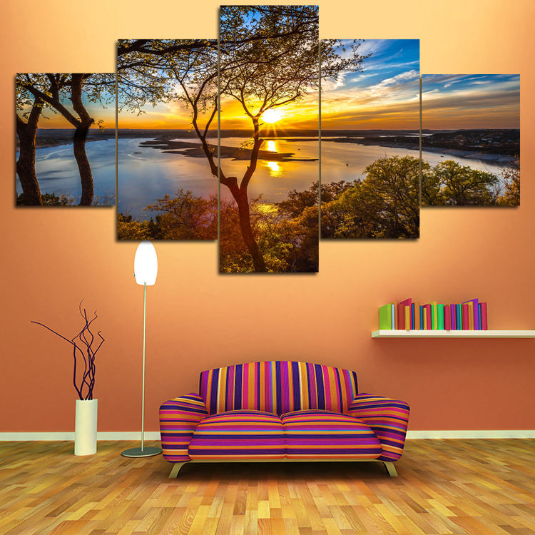 New design Multi-panel Natural 풍경 색깔이 밝음 Canvas Printing 벽 Art 싼 Canvas 잉크젯 Painting 대 한 홈 decor
