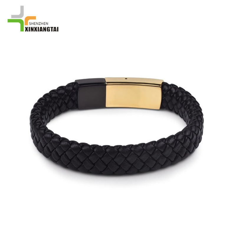 fashion trendy cheap leather men bracelet