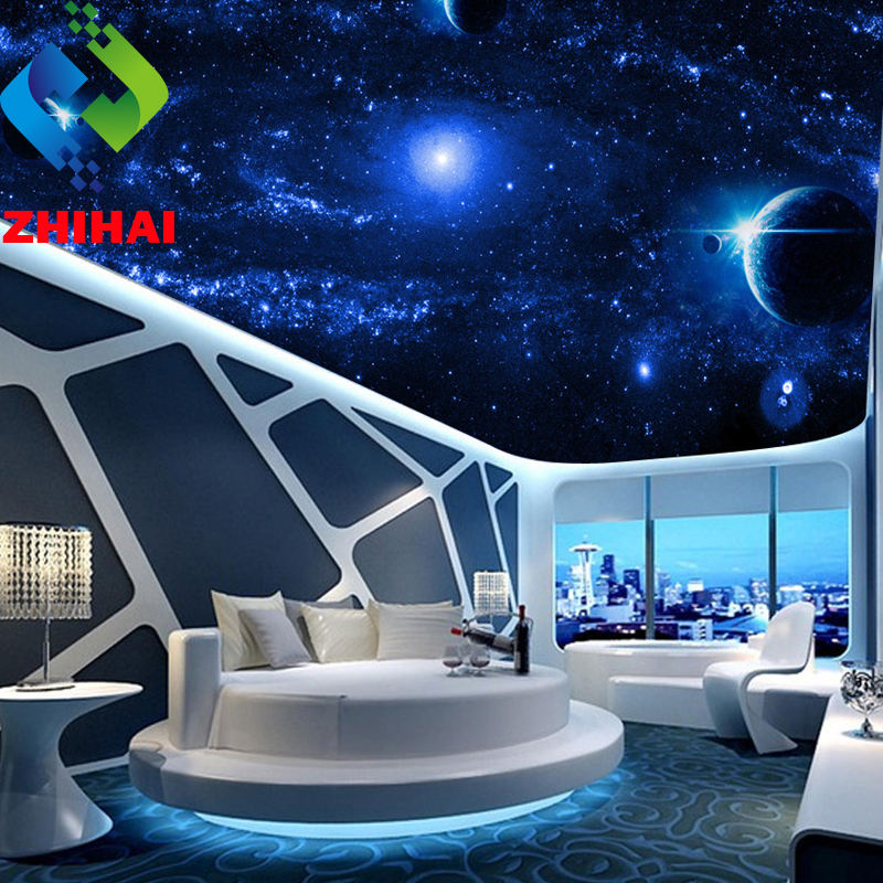 3.2mWx3.2mH per piece galaxy milky way stars planet print 3d decorative plastic pvc ceiling design wall panel
