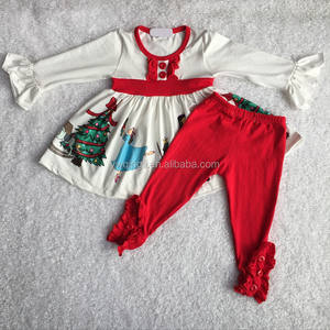 2018 wholesale cotton girl set doll print long sleeves ruffles red pants baby boutique wholesale set L(180)