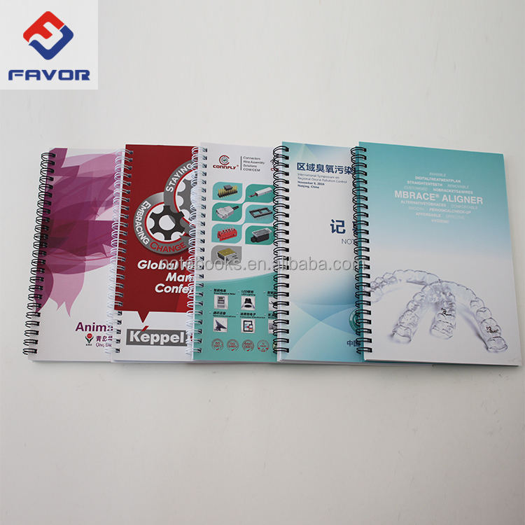 2020 promotional gift pp cover spiral bound notebooks customized logos and designs with elastic pen holder