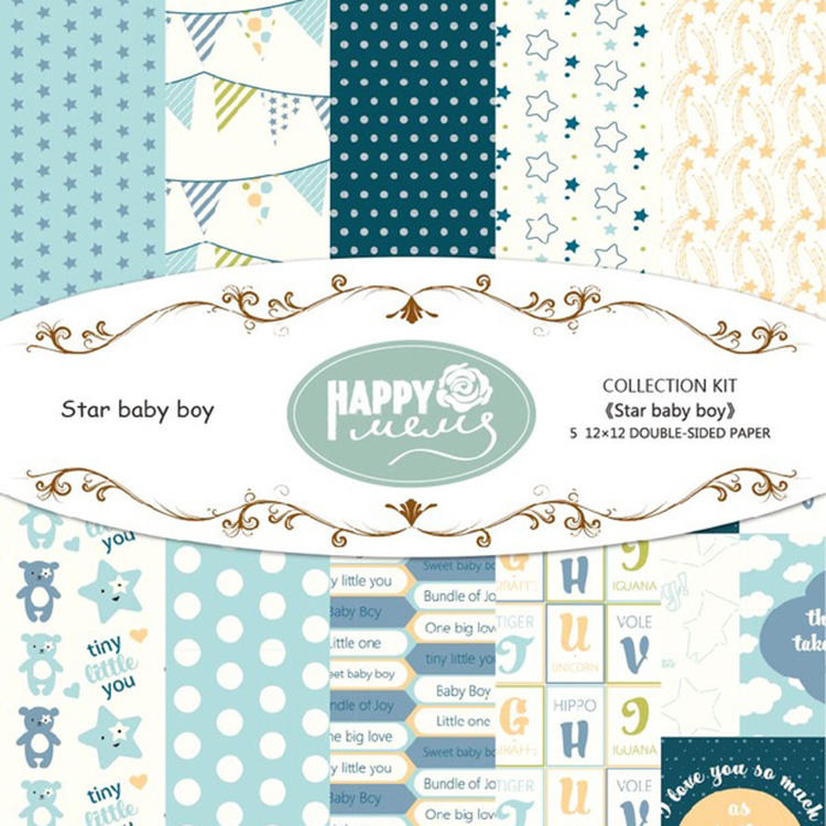 Wholesale star baby boy series design scrapbooking pattern paper for paper craft
