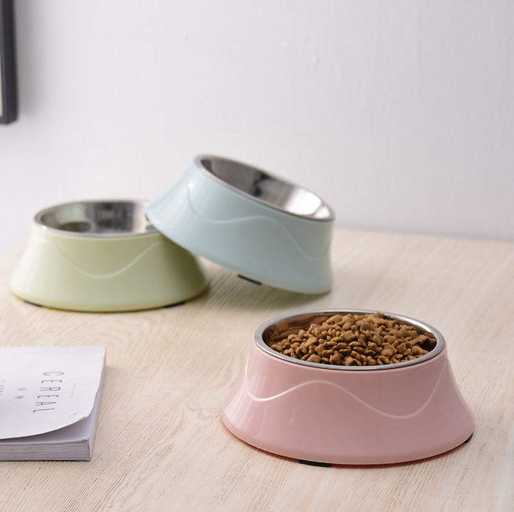 Wholesale Custom New Design Stainless Steel Dog Bowl Colorful Eco-friendly PP Non-slip Pet Bowl