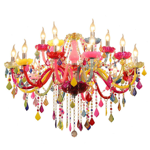 New design modern luxury large colorful color crystal chandelier for girl princess bedroom cafe KTV bar