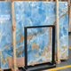 Highly polished Bolivia Blue onyx marble price,blue marble tiles slabs for wall decoration