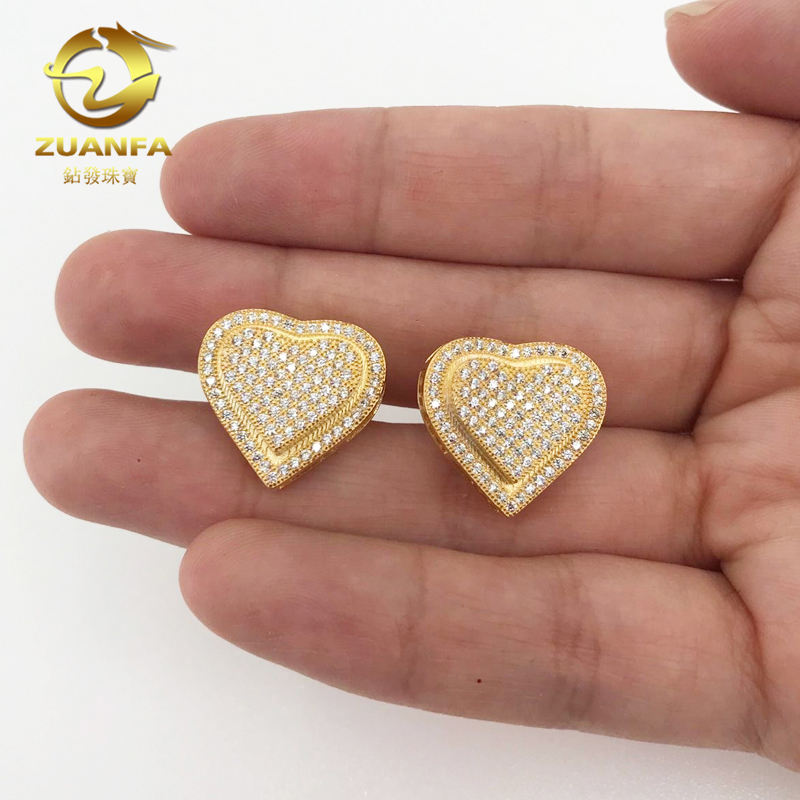hip hop 18k gold plated sterling silver screw back mens heart micro pave iced out earrings