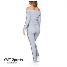 Women Tracksuit Sexy Off Shoulder Sweatshirt Pants Sets Sport Casual Suits