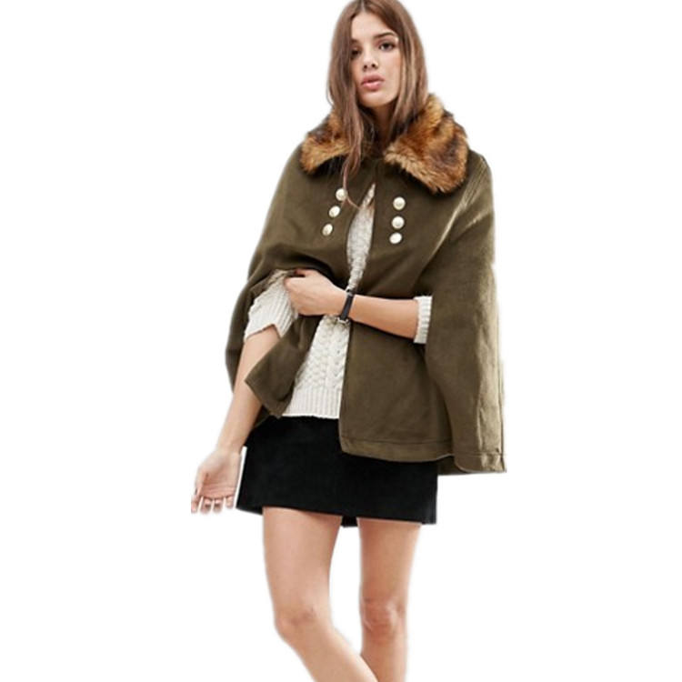 Autumn new style women military cape with faux fur collar coats