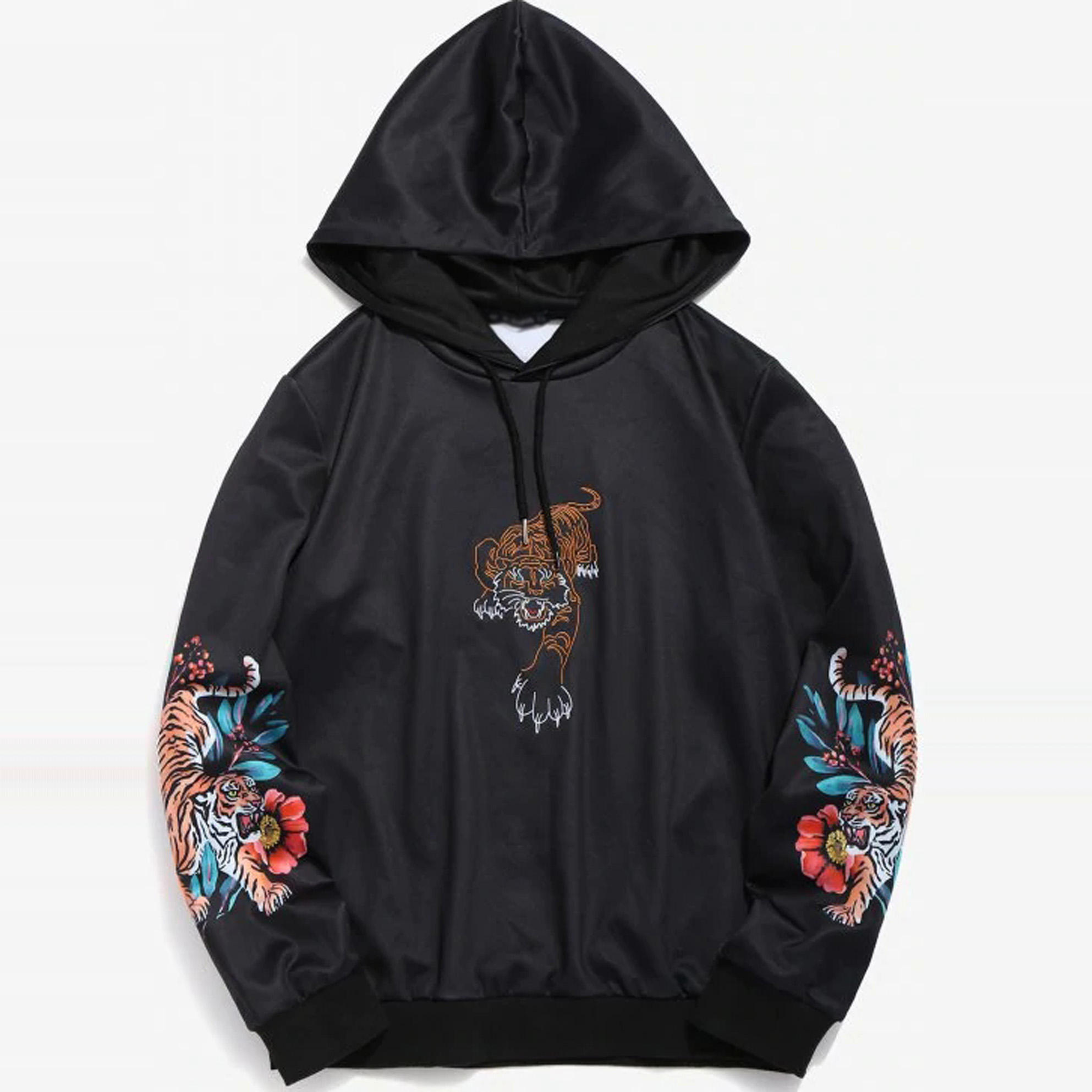 2019 new arrival sweater embroidery black men hoodie with tiger print