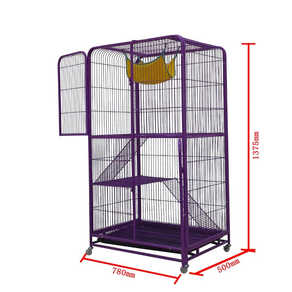 Lockable rolling cage container cart / security recycle metal storage wire cat cage with wheels