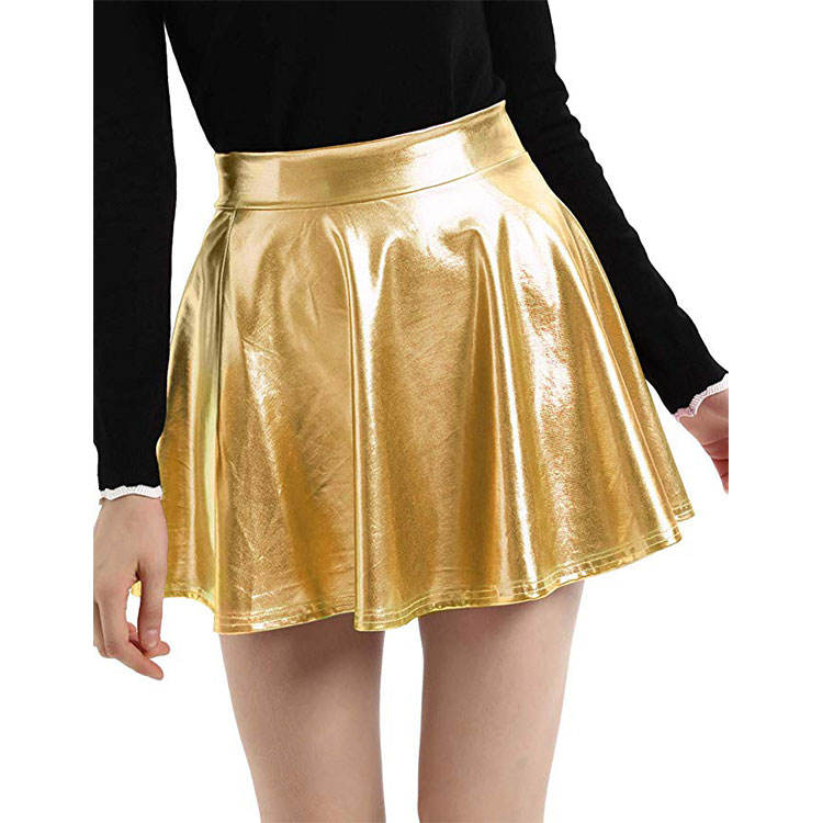 Ladies Casual Fashion Pleated Skater Shiny Metal Skirt