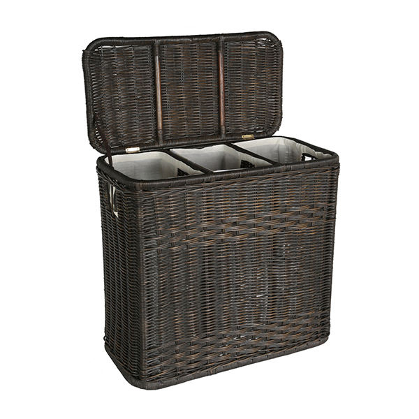 Custom antique 3 compartment wicker lundry hamper basket