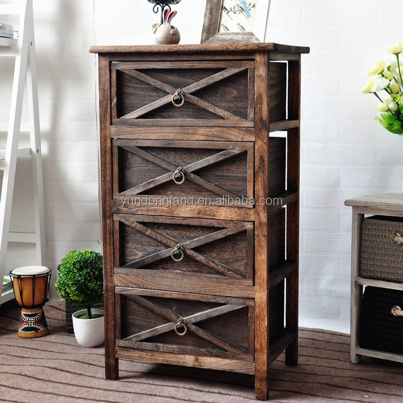 Shabby chic chest of drawer vintage antique frenchstyle wood cabinet