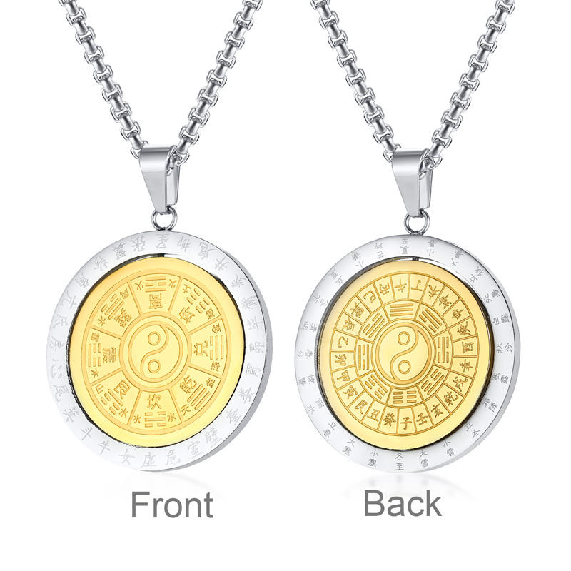 Religion Jewelries Chinese Solar Terms 360 Degree Rotatable Ying Yang Bagua Pendant