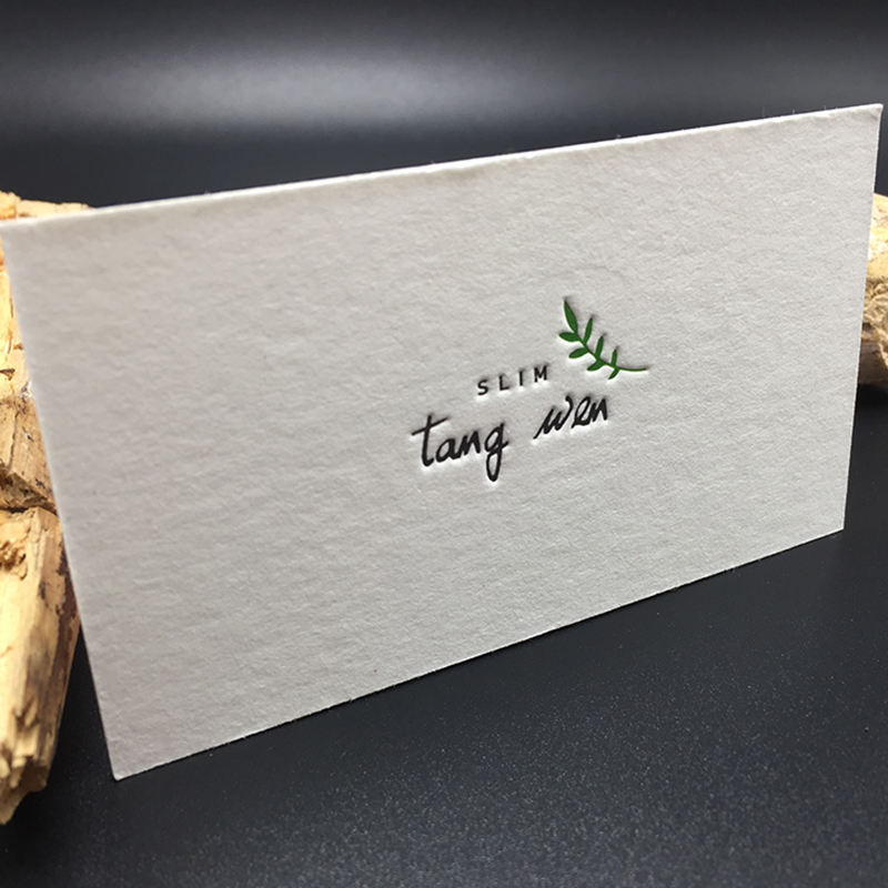 2019 Fashion design art or cotton paper business cards with letterpress printing gold foil debossed logo