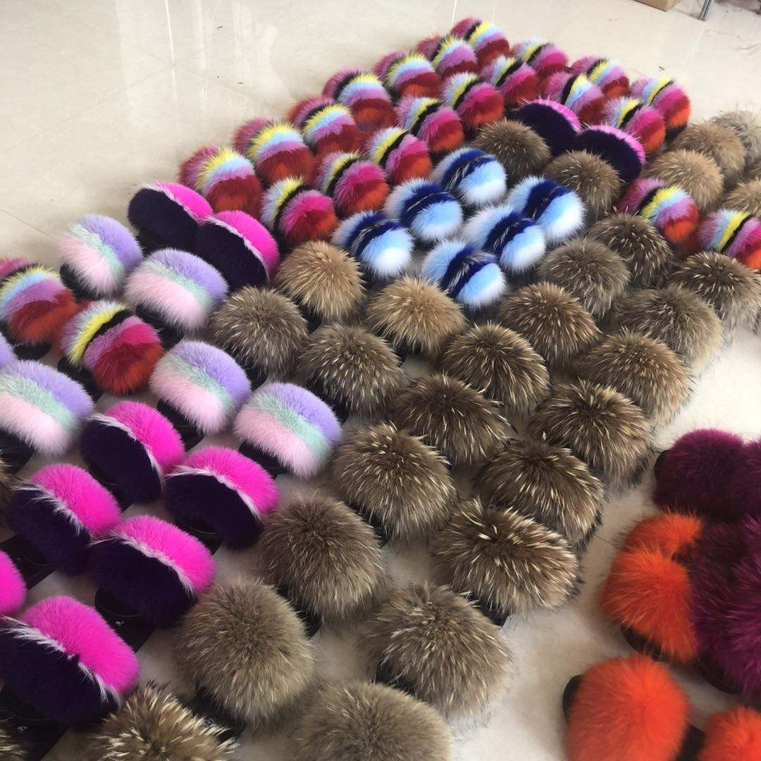 2019 Summer Custom genuine women fox fur slides slippers